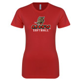 Next Level Ladies SoftStyle Junior Fitted Red Tee-UHV Softball