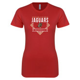 Next Level Ladies SoftStyle Junior Fitted Red Tee-Jaguars Baseball