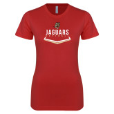 Next Level Ladies SoftStyle Junior Fitted Red Tee-Jaguars Softball