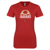 Next Level Ladies SoftStyle Junior Fitted Red Tee-Jaguars Soccer