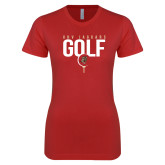 Next Level Ladies SoftStyle Junior Fitted Red Tee-Jaguars Golf