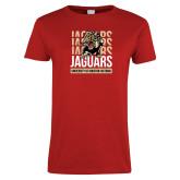 Ladies Red T Shirt-Jaguars Graphic