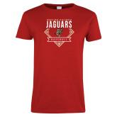 Ladies Red T Shirt-Jaguars Baseball