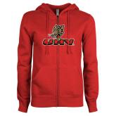 ENZA Ladies Red Fleece Full Zip Hoodie-UHV Logo