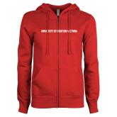 ENZA Ladies Red Fleece Full Zip Hoodie-University of Houston Victoria