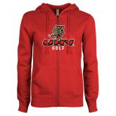 ENZA Ladies Red Fleece Full Zip Hoodie-UHV Golf