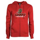 ENZA Ladies Red Fleece Full Zip Hoodie-UHV Grandma