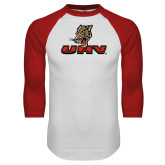 White/Red Raglan Baseball T Shirt-UHV Logo