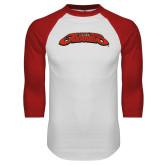 White/Red Raglan Baseball T Shirt-UHV Jaguars