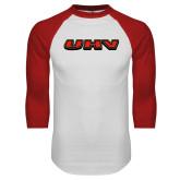 White/Red Raglan Baseball T Shirt-UHV