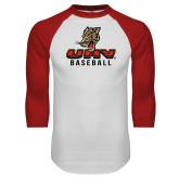 White/Red Raglan Baseball T Shirt-UHV Baseball