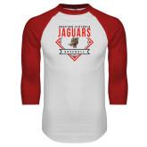 White/Red Raglan Baseball T Shirt-Jaguars Baseball