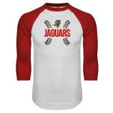 White/Red Raglan Baseball T Shirt-Jaguars Ball Stitches