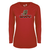 Ladies Syntrel Performance Red Longsleeve Shirt-UHV Logo