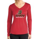 Ladies Syntrel Performance Red Longsleeve Shirt-UHV Baseball