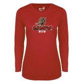 Ladies Syntrel Performance Red Longsleeve Shirt-UHV Mom