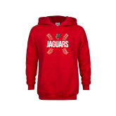 Youth Red Fleece Hoodie-Jaguars Ball Stitches