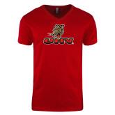 Next Level V Neck Red T Shirt-UHV Logo