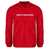 V Neck Red Raglan Windshirt-University of Houston Victoria