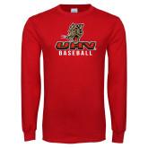 Red Long Sleeve T Shirt-UHV Baseball