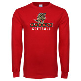 Red Long Sleeve T Shirt-UHV Softball