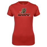 Ladies Syntrel Performance Red Tee-UHV Logo