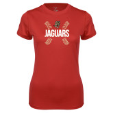 Ladies Syntrel Performance Red Tee-Jaguars Ball Stitches