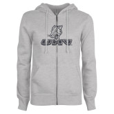 ENZA Ladies Grey Fleece Full Zip Hoodie-UHV Logo Glitter Graphite Soft Glitter