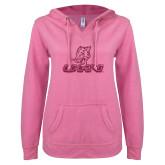 ENZA Ladies Hot Pink V Notch Raw Edge Fleece Hoodie-UHV Logo Glitter Hot Pink Glitter