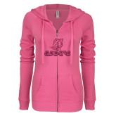 ENZA Ladies Hot Pink Light Weight Fleece Full Zip Hoodie-UHV Logo Glitter Hot Pink Glitter