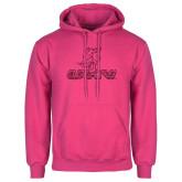 Fuchsia Fleece Hoodie-UHV Logo Glitter Hot Pink Glitter