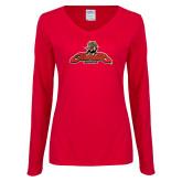 Ladies Red Long Sleeve V Neck Tee-Primary Mark