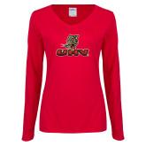 Ladies Red Long Sleeve V Neck Tee-UHV Logo