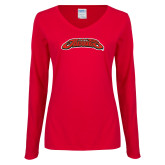 Ladies Red Long Sleeve V Neck Tee-UHV Jaguars