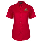 Ladies Red Twill Button Up Short Sleeve-UHV Logo