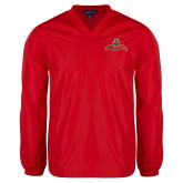 V Neck Red Raglan Windshirt-Primary Mark