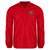 V Neck Red Raglan Windshirt-UHV Logo