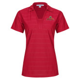 Ladies Red Horizontal Textured Polo-Primary Mark