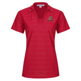 Ladies Red Horizontal Textured Polo-UHV Logo