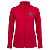 Ladies Fleece Full Zip Red Jacket-UHV Logo