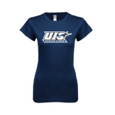 Next Level Ladies SoftStyle Junior Fitted Navy Tee-UIS Prairie Stars
