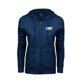 ENZA Ladies Navy Fleece Full Zip Hoodie-UIS Prairie Stars