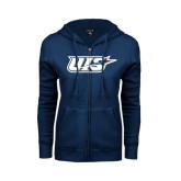 ENZA Ladies Navy Fleece Full Zip Hoodie-UIS