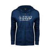 ENZA Ladies Navy Fleece Full Zip Hoodie-Prairie Stars - Stacked