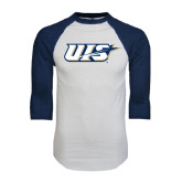 White/Navy Raglan Baseball T-Shirt-UIS