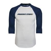 White/Navy Raglan Baseball T-Shirt-Prairie Stars - Flat