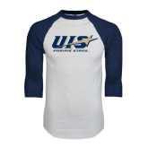 White/Navy Raglan Baseball T-Shirt-UIS Prairie Stars
