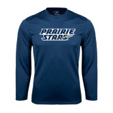 Performance Navy Longsleeve Shirt-Prairie Stars - Stacked