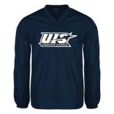 V Neck Navy Raglan Windshirt-UIS Prairie Stars