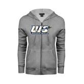 ENZA Ladies Grey Fleece Full Zip Hoodie-Basketball